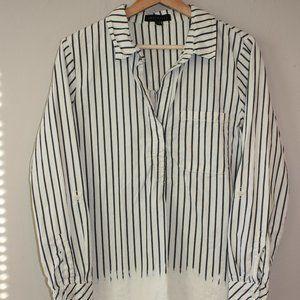 Sanctuary Dip Dye Vertical Stripe Tunic Shirt